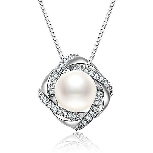 J.Vénus Kette Damen Kleine Perle Halskette 925 Sterling Silber Zirkonia Anhänger mit Etui Italien kette 45cm (Silber Kleine Halskette Perle)
