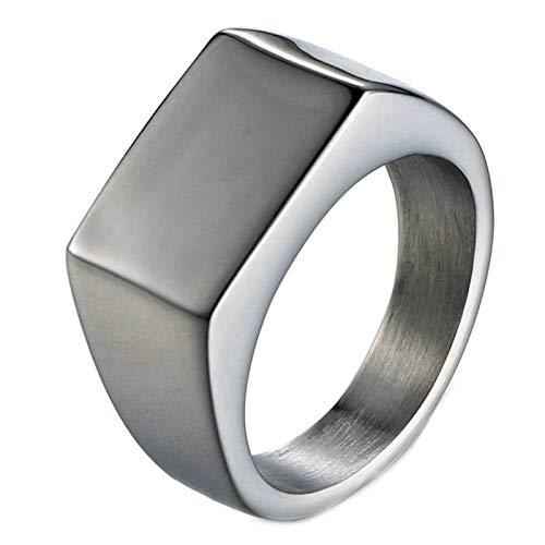 Aooaz Gioielli anelli da uomo anelli acciaio inossidabile Rettangolo anelli hip hop Argento Dimensione italiana 20