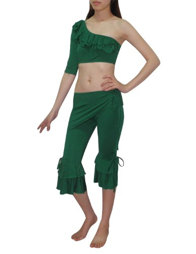 3 PCS SET: Womens Exotic Belly Dance Cropped Top, Hip Scarf & Pant Set Green