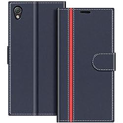 COODIO Coque en Cuir Sony Xperia Z3, Étui Téléphone Sony Xperia Z3, Housse Pochette Sony Xperia Z3 Fonction Stand Etui Coque pour Sony Xperia Z3, Bleu Foncé/Rouge