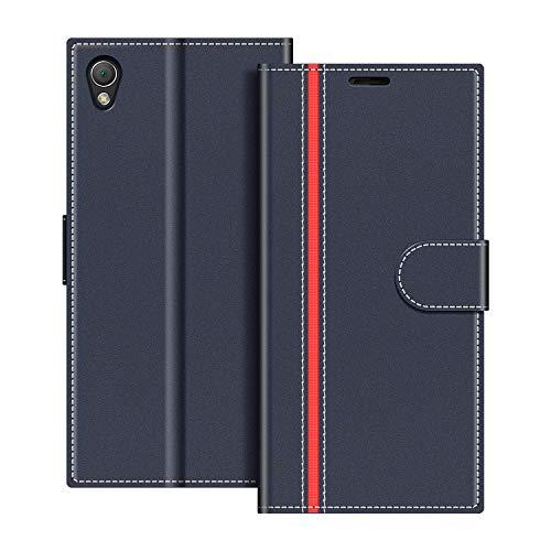 coodio custodia per sony xperia z3, custodia in pelle sony xperia z3, cover a libro sony xperia z3 magnetica portafoglio per sony xperia z3 cover, blu scuro/rosso