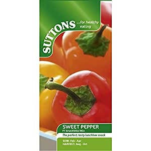 Suttons Seeds 156665 Sweet Pepper F1 Snackbite Mix Seeds (Pack of 6)