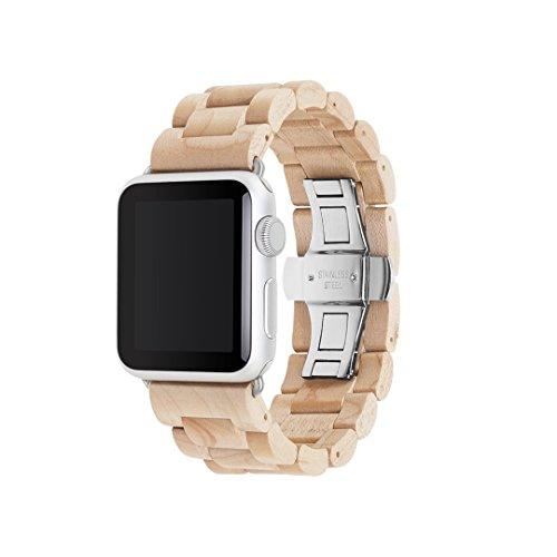 Woodcessories - EcoStrap - Premium Holzband, Strap, Armband, Uhrenarmband für die Apple Watch 1, 2, 3 & 4, echtes Holz (Ahorn / silber, 42 / 44 mm)
