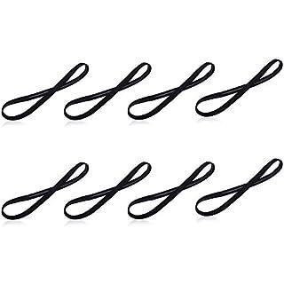 Amasawa 8 Stück Sport Stirnbänder Elastische Anti Rutsch Dünn Haarbänder für Damen und Herren Yoga Laufen Workout (Schwarz)
