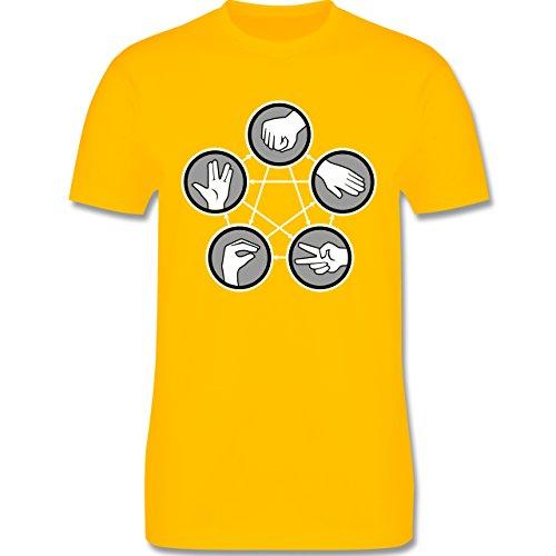 Nerds & Geeks - Rock Paper Scissors Lizard Spock - Schere Stein Papier Echse Spock - Herren Premium T-Shirt Gelb
