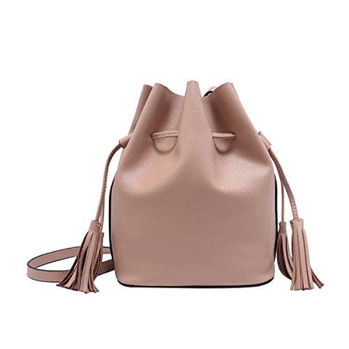 Frauen Retro Quaste Tasche Kordelzug Mini Umhängetasche CreamBrown