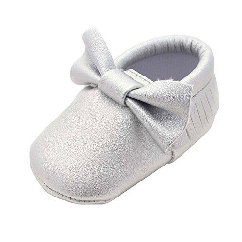 QHGstore Baby-Kleinkind-Schuhe mit bowknot Quasten Rutsch-Soles 13cm Rose Silber