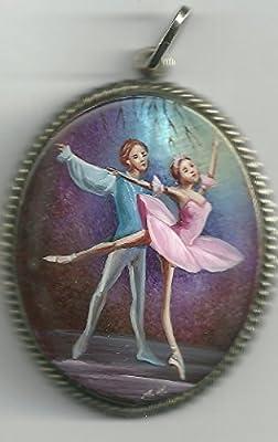 11.c. Pendentif De Nacre Russe Peint À La Main