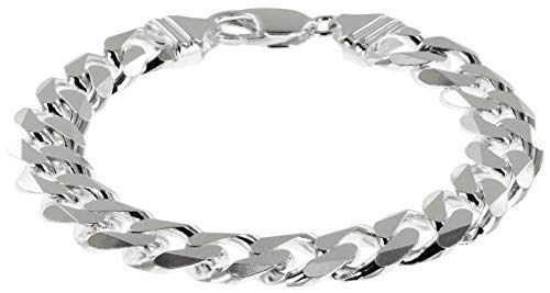 0019b11c7b005 Avesano 102044-0 XXL Men's Bracelet Curb Chain 11 mm Wide in 925 Sterling  Silver Men's Bracelet Silver Curb Bracelet Length 19 cm - 23 cm