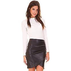 Falda cuero negro de Vila Clothes (XS - Negro)