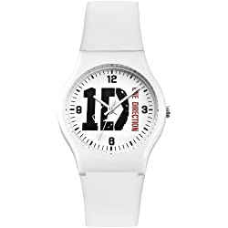 One Direction Girl's Quartz Watch with White Dial Analogue Display and White Plastic ON004WHOD