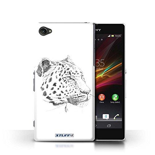Kobalt® Imprimé Etui / Coque pour Sony Xperia Z1 Compact / Lion conception / Série Dessin Croquis Léopard