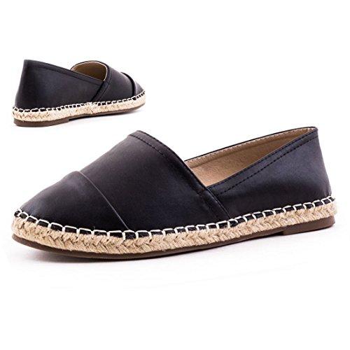 Low espadrilles femme top chaussures d'été cuir métallisé, mocassins femme - Schwarz-Metallic
