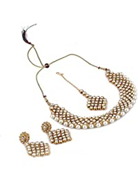 Andaaz Bollywood Inspired Gold Plared Kundan Necklace Set With Mangtikka For Women And Girls