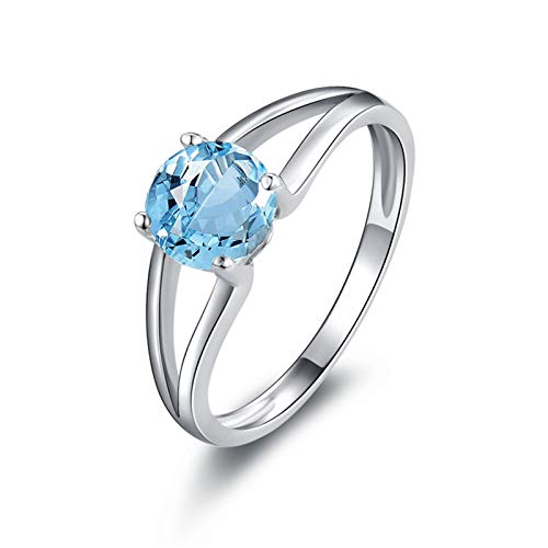 SonMo Ringe 925 Silber Trauringe Paarringe Hochzeit Ring Silber Breit 2 Reihe Hohl Runde Stein Poliert Solitär Ringe Hellblau Topas Rundschliff Ringe Damen 60 (19.1)