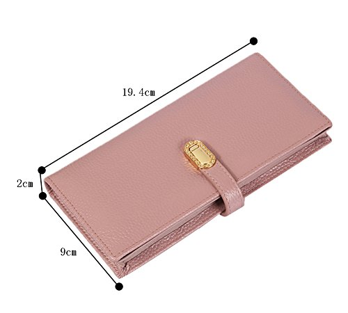 Genda 2Archer Portafogli Lungo Donna Carte Borsa Titolare di Monete (9cm*2cm*19.4 cm) (Blu) Rosa