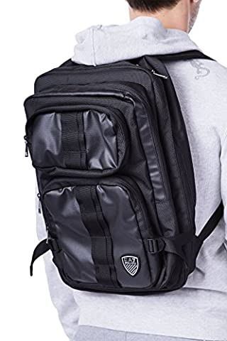 Emporio Armani EA7 men's Nylon rucksack backpack travel train soccer black