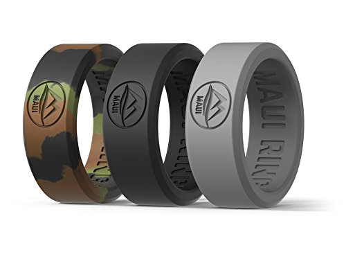 MAUI RINGS BEST Set of 3 Silicone Wedding Ring by SOLID STYLE Silikon Hochzeitsring für Herren Ehering Verlobungsringe Gummi Ring Herren Ringe Silikon Ring CAMO BLACK GRAY [DE 57] US:8/UK:Q(18.14mm)