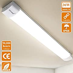 Idea Regalo - Airand Plafoniere Led 120CM 36W 3600LM Ultraslim Collegabili Plafoniera Led Soffitto Moderna IP66 impermeabili Tubo Neon Led Garage Officina Ufficio Bagno Seminterrato Giardino Magazzino Bianco neutro