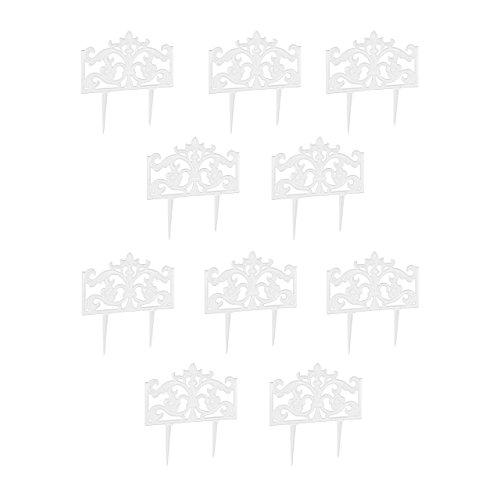 Relaxdays 10er Set Beetzaun Gusseisen, mit Erdspieß, Einfaches Stecksystem, Zierzaun, nostalgisch, H x B x T: 37 x 36 x 2 cm, Weiß