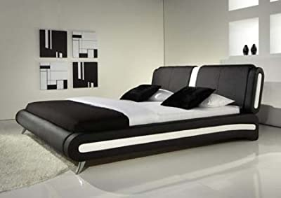 4ft6 Double Exclusive Italian Black Faux Leather Designer Bed - inexpensive UK light store.