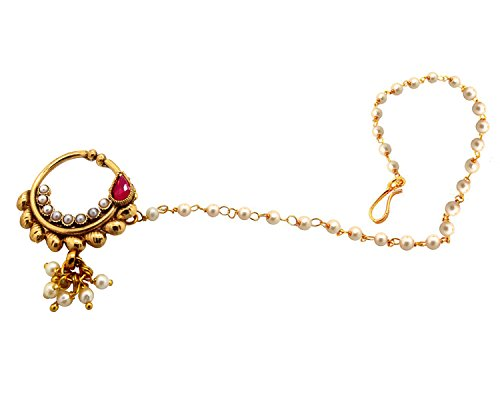 Biyu Ruby Pearl Gold Plated Bridal Wedding Non Piercing Nose Ring With Chain For Women  available at amazon for Rs.295