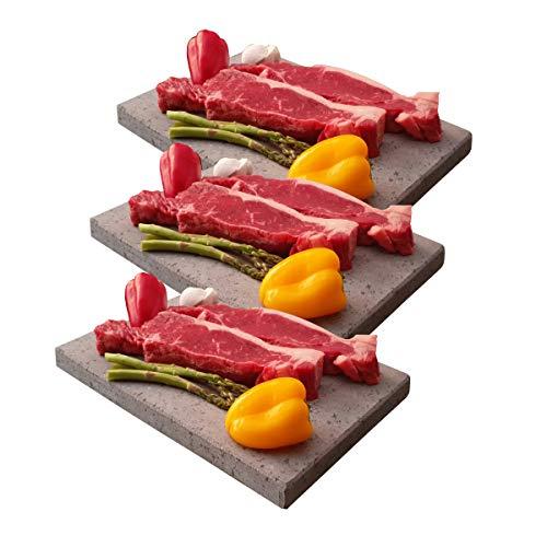 Promoción Tres Piedras volcánicas de 20x30x2 cm para Carne a la Piedra Especial restaurantes Uso Profesional.