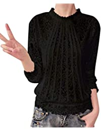 VJGOAL Moda Mujer Gasa Color sólido de Manga Larga O Cuello Sexy Encaje Tops Casuales Blusa