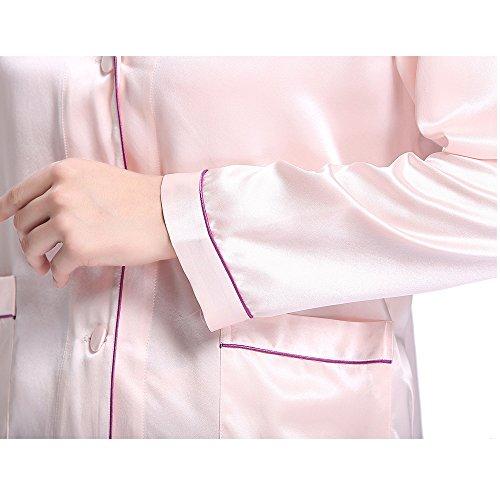 LilySilk Set Pigiama Seta Donna Lungo Di 100% Pura Seta 22 Momme Con Filetto A Colore Contrasto Rosa chiaro