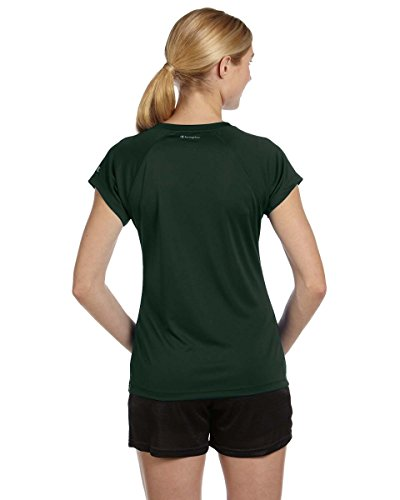 Champion Damen V-Neck Tee Essential Double Dry Athletic Dark Green