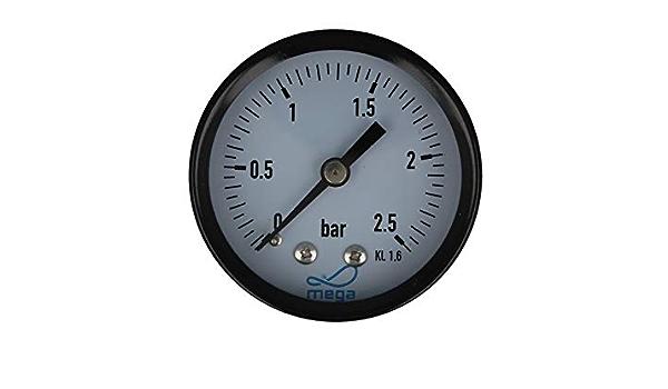 Mega Druckmanometer 0 2 5 Bar 1 4 Zoll Anschluss Nach Hinten Axial Ø 50 Mm Baumarkt