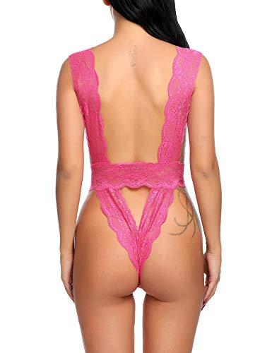 Avidlove Damen Body mit V-Ausschnitt, Spitze - Pink - XX-Large - 5