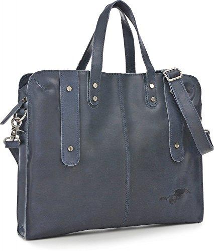 REBELS & LEGENDS, Unisex Handtaschen, Aktentaschen, Messenger-Bags, Messenger, Umhängetaschen, Leder, 38,5 x 33 x 4 cm (B x H x T) Dunkelblau