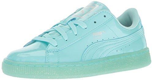 PUMA Basket Patent Iced Glitter Jr Running Shoe, Aruba Blue, 6 M US Big Kid -