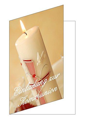 LYSCO 25 Stück Einladungskarten zur Kommunion Einladungen Karte Kerze Tauben Format 10,5x14,8cm