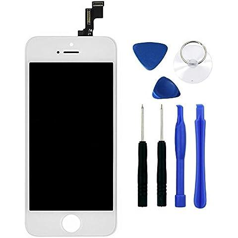ConPush iPhone 5S Blanco Asamblea Pantalla Táctil LCD de Repuesto Digitalizador para Apple iPhone 5S + Conjunto de los Herramientas de Reparación (Blanco)