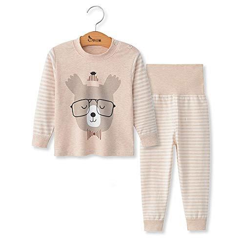 Chickwing Kinder Zweiteiliger Schlafanzug, Mädchen Jungen Unisex Langarm Hohe Taille Pyjama Pjs 100% Baumwolle 6 Monate-5 Jahre Höhe Größe 73 80 90 100 110 (12-18 Monate, Beige Bär Streifen)
