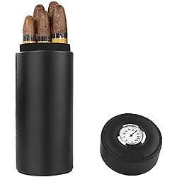 Ipay cigare, cèdre bois doublé voyage portable cuir cigare Humidor avec humidificateur (Noir)