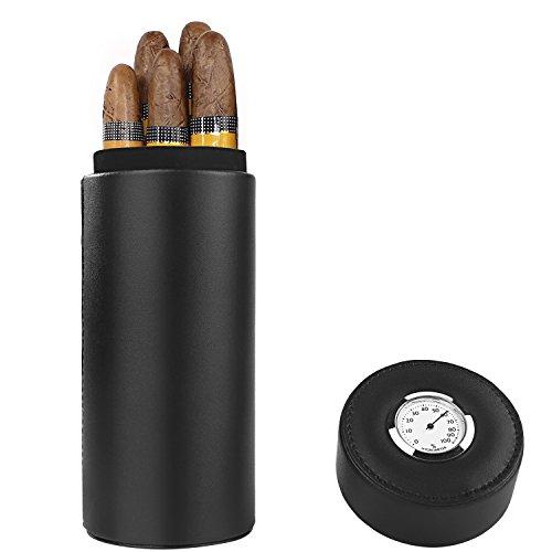 Zigarrenetui, Zedernholz gefüttert tragbar Reise Leder Zigarre Humidor mit Befeuchter (schwarz) (Tube Cigar Cohiba)