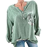 Milktea Blusen Damen Tops T-Shirt Herbst Mode Langarm Tasche Gedruckt Bluse Tops T-Shirt