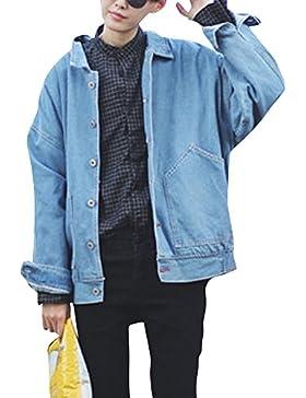 Chaquetas de Mezclilla para Hombre Manga Larga Suelto Denim Jacket Chaqueta Vaquera