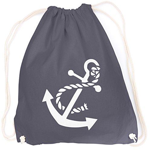vanVerden Sport Turnbeutel Boots Anker Marine Style Maritim Schiff inkl. Geschenkkarte, Farbe:Graphite Grey (Dunkel Grau) -