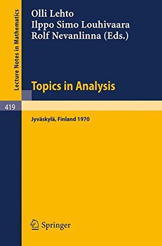 Topics in Analysis: Colloquium on Mathematical Analysis, Jyväskylä 1970