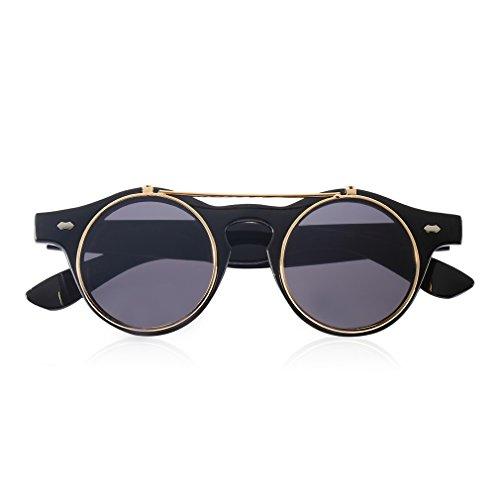 Fansport Flip Up Sonnenbrille Runde Sonnenbrille Steampunk Brille Runde Brille für Frauen