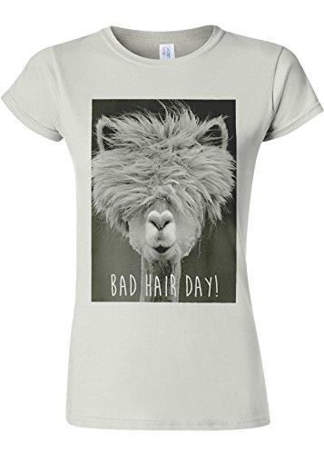 Royal Purple T-shirt (Bad Hair Day Llama Lama Novelty White Women Damen Top T-shirt Verschiedene Farben-L)