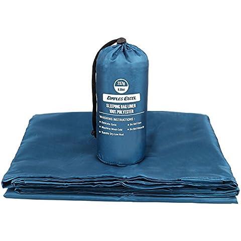 Dimples Excel Sábana para saco de dormir interior ultraligera envelope con espacio de lujo (azul monaco)