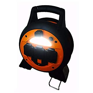 Mains 3 Way Camping Roller Hook Up lead Reel With Light And USB Ports