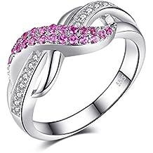 JewelryPalace 0.38ct Magnifique Bague de Fiançailles Femme Amour Infini en Argent Sterling 925 en Rosé d'Alexandrie et Zircon Cubique de Synthèse