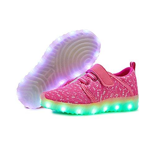 O&N LED Schuhe USB Aufladen Leuchtend Mesh Sport Schuhe schnürsenkel Sneakers Leichtbau brillant Stil Schuhe für Unisex Kinder Rot