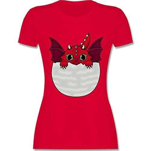 Sonstige Tiere - Süßer Baby Drache - tailliertes Premium T-Shirt mit Rundhalsausschnitt für Damen Rot